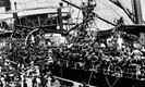 The first Tasmanian contingent for WWI onboard GEELONG loading at Hobart in 1914, bound for the Middle East