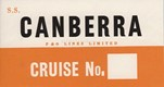 Gummed baggage label designed for use on CANBERRA