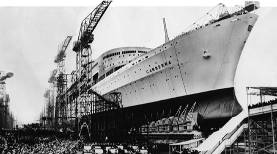 the launch of P&O's CANBERRA at Harland & Wolff shipyard in 1960
