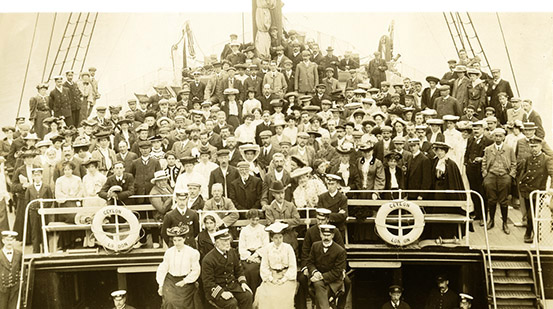 Crew and Passengers on board P&O's CEYLON in 1905