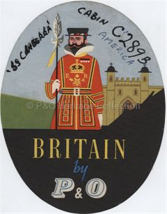 "Baggage Label - ""Britain by P&O"""