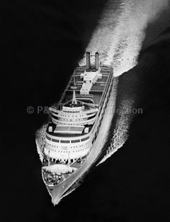 Aerial view of CANBERRA on sea trials