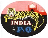 "Baggage Label - ""India by P&O"""