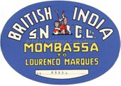 Baggage Label - B.I. from Mombasa