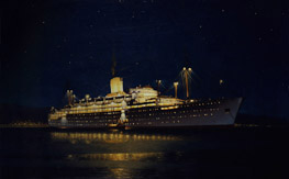 Painting of 'Chusan at night at anchor' by Edward Beckett c. 1950