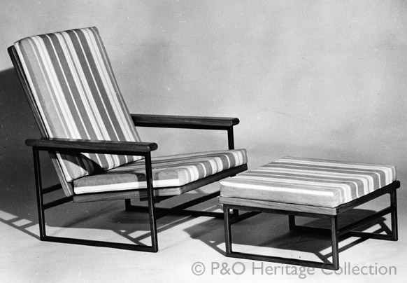 Tripos chair and footstool. Designed and manufactured by Ernest Race Ltd. © P&O Heritage Collection