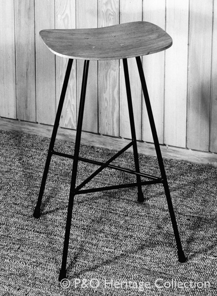These stools were designed by Conran & Co. and used in the chartroom and tv control room. © P&O Heritage Collection
