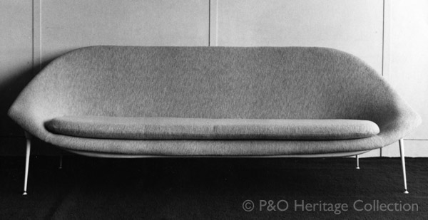 Meridian Room 'tub' Settee designed by Timothy Rendle and made by Nicolas Breton. © P&O Heritage Collection