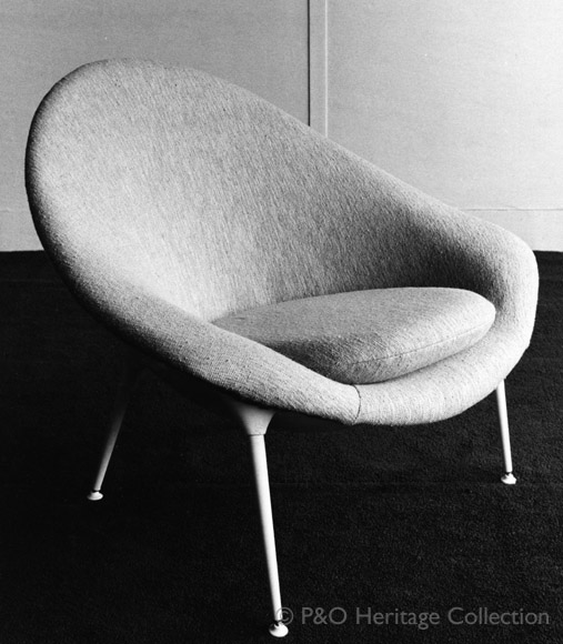 Meridian Room 'tub' Chair designed by Timothy Rendle and made by Nicolas Breton. © P&O Heritage Collection