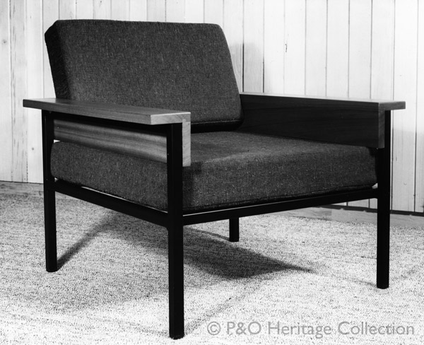 This chair, specified from Conran & Co. was used in the wardroom on board CANBERRA. © P&O Heritage Collection