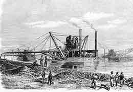 'The Isthmus of Suez Maritime Canal: Dredgers and Elevators at Work'   ILN, 3rd April 1869