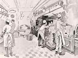 'A Peep into the Galley' from 'P&O Sketches in Pen and Ink'
