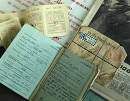 Service record, ration coupons and wartime ephemera