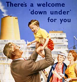 P&O poster advertising reduced fares to Australia