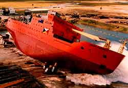 AURORA AUSTRALIS being launched in 1989 as an antarctic research and supply vessel, for P&O Polar Australia