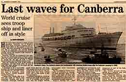 The 'Evening Standard' paid tribute to CANBERRA on 2nd January 1997