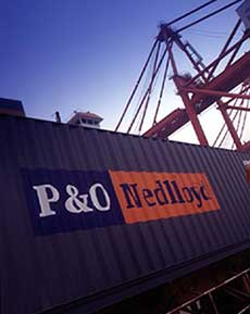 A P&O Nedlloyd container being loaded at Shanghai