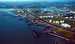 Aerial view of London Gateway site before work began