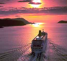 ORIANA sailing into the sunset