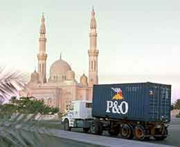 A P&O container making its way through Dubai